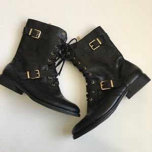 Arturo Chiang Feisty Black Leather Combat Boots